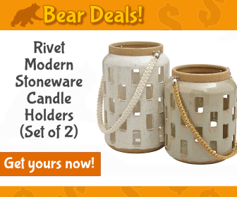 Rivet Stoneware Candle Holders